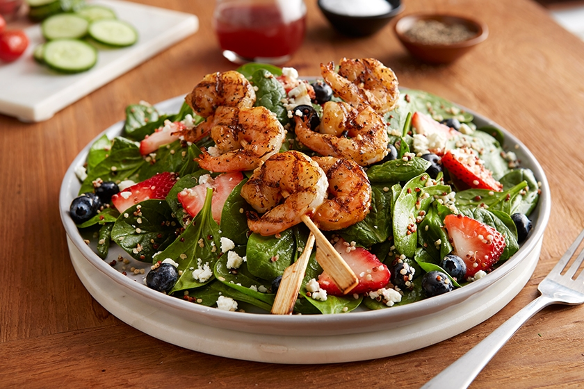 Berry Spinach & Shrimp Quinoa Salad